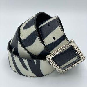 NWOT Brighton Zebra Print Leather Belt-Size XL